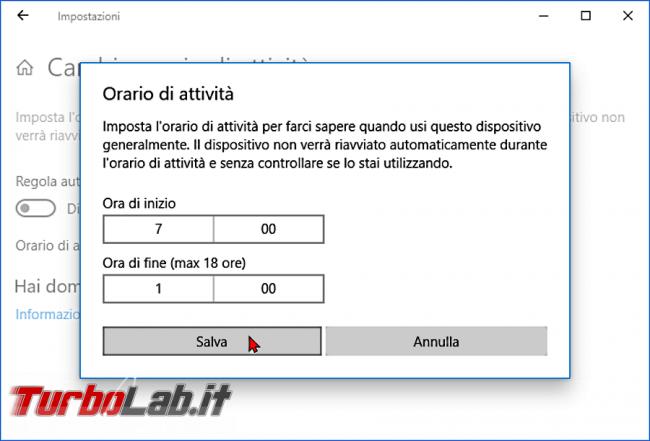 Windows 10: impedire / bloccare riavvio inopportuno Orario attività - zShotVM_1552751129