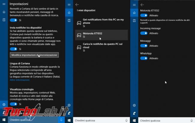 Windows 10 incontra Android: guida definitiva sfruttare insieme PC smartphone - localizzarlo farlo squillare remoto, sincronizzare notifiche, inviare SMS creare promemoria condivisi - windows 10 1607 cortana android impostazioni di sincronizzazione