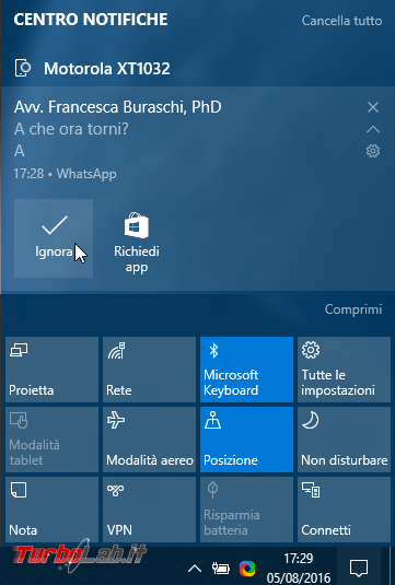 Windows 10 incontra Android: guida definitiva sfruttare insieme PC smartphone - localizzarlo farlo squillare remoto, sincronizzare notifiche, inviare SMS creare promemoria condivisi - windows 1607 notifica android whatsapp centro notifiche