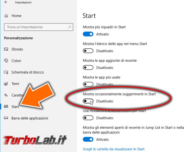 Windows 10, menu Start: come bloccare app Consigliate (disattivare pubblicità Store)
