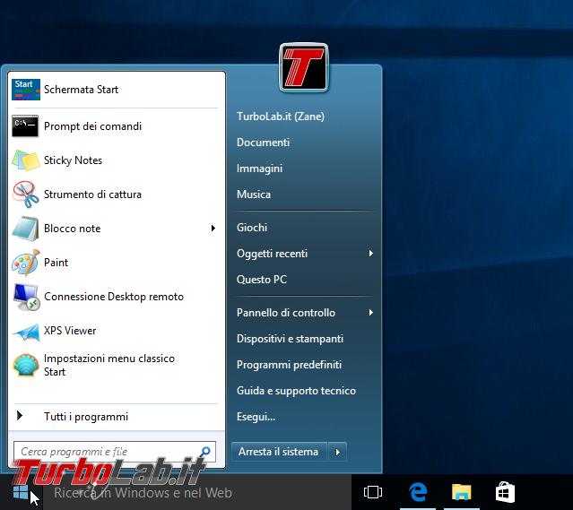 Windows 10, menu Start: come bloccare app Consigliate (disattivare pubblicità Store) - windows 10 classic shell aero