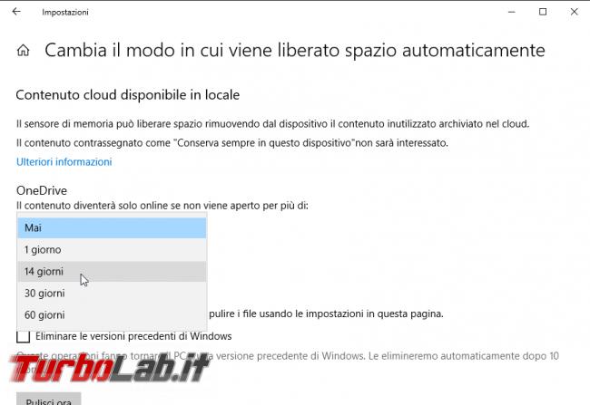 Windows 10 OneDrive: liberare spazio disco eliminando automaticamente file inutilizzati