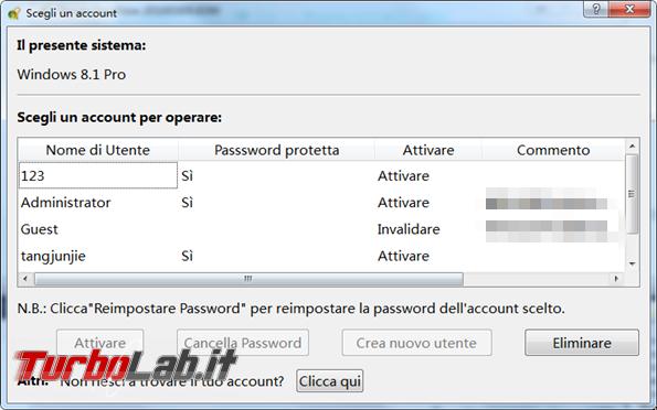 Windows 10 password dimenticata? Ecco guida rimuoverla! - selezionare account per rimuovere password_595