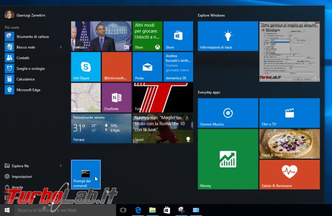 """Windows 10, Prompt comandi: accesso negato - come aprire (sempre) """"Prompt comandi"""" Amministratore"""