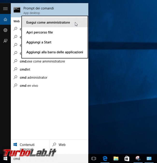 """Windows 10, Prompt comandi: accesso negato - come aprire (sempre) """"Prompt comandi"""" Amministratore - cmd esegui come amministratore"""