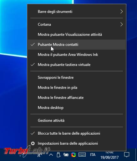 Windows 10: rimuovere/nascondere icona Persone (Contatti, My People) vicino orologio