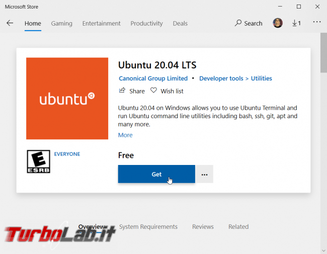 Windows 10 WSL: Ubuntu 20.04 è già disponibile Microsoft Store