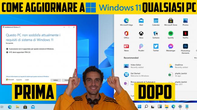 Windows 11: PC è compatibile? Guida requisiti minimi sistema (processore/CPU, memoria RAM, disco) (video) - Come aggiornare a Windows 11 qualsiasi PC spotlight
