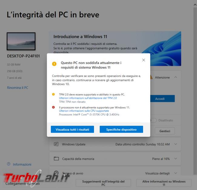 Windows 11: PC è compatibile? Guida requisiti minimi sistema (processore/CPU, memoria RAM, disco) (video) - sshot_ext_1633292159