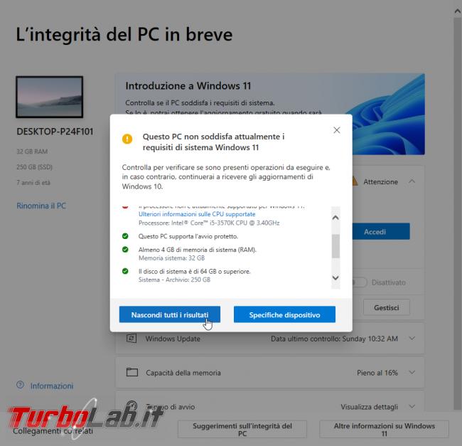 Windows 11: PC è compatibile? Guida requisiti minimi sistema (processore/CPU, memoria RAM, disco) (video) - sshot_ext_1633292302