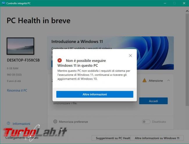 Windows 11, requisiti minimi sistema, CPU, memoria RAM, disco - come controllare se PC è compatibile (app ufficiale) - pc incompatibile windows 11
