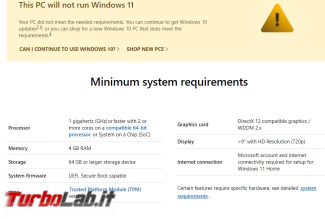 Windows 11, requisiti minimi sistema, CPU, memoria RAM, disco - come controllare se PC è compatibile (app ufficiale) - screen_xps_1624554505