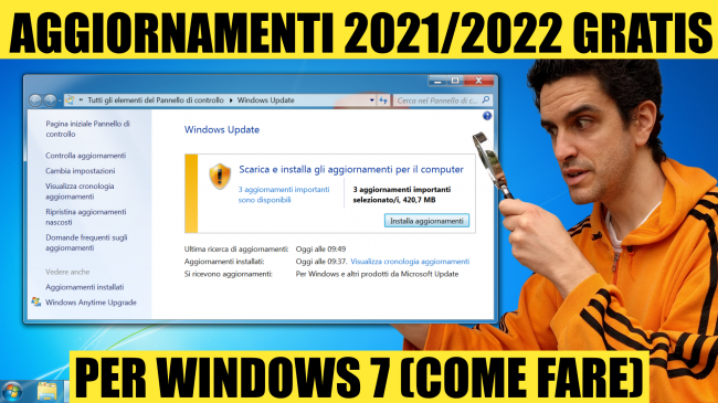 Windows 7: come scaricare aggiornamenti gratis 2021 (video) - aggiornamenti esu windows 7 gratis 2021-2022 spotlight