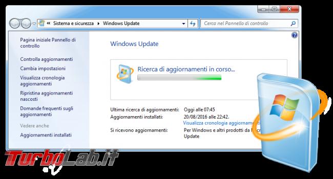 Windows 7, fine supporto: come continuare ricevere aggiornamenti Extended Security Updates (ESU) - Windows Update Windows 7 Ricerca di aggiornamenti in corso...