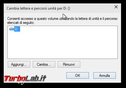 Windows: come nascondere disco partizione - Cambia lettera e percorsi unità per D ()
