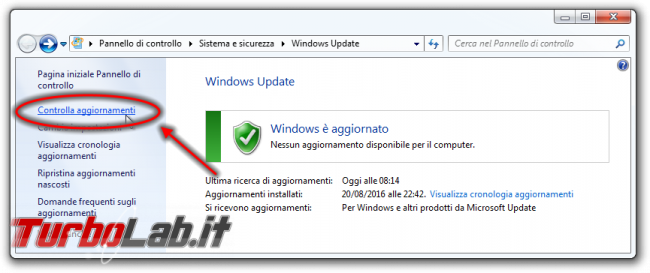 """Windows Update bloccato """"Ricerca aggiornamenti corso..."""", Windows 7 non si aggiorna - Windows Update controlla aggiornamenti link"""