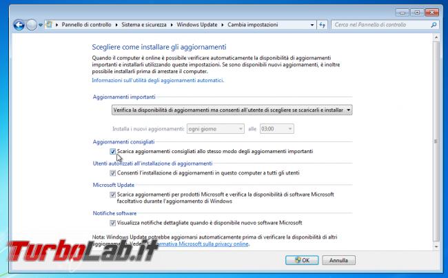 Windows Update Windows 7 Windows 8.1: stop singole patch - Tutte novità nuovo Aggiornamento cumulativo qualitativo mensile (rollup updates) - windows update scarica aggiornamenti consigliati