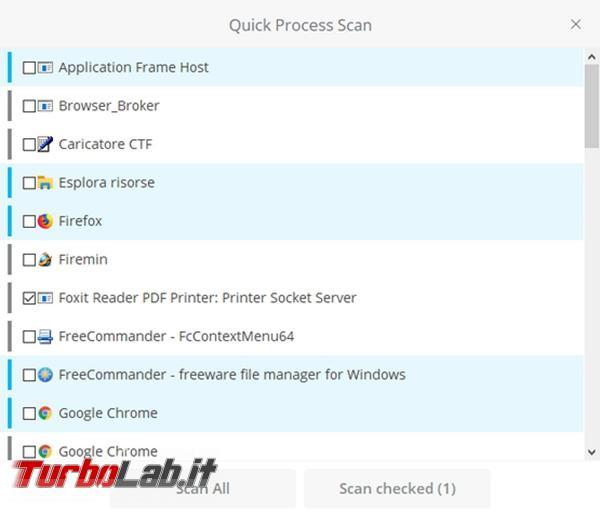 Winja controlla file processi Windows utilizzando VirusTotal.com