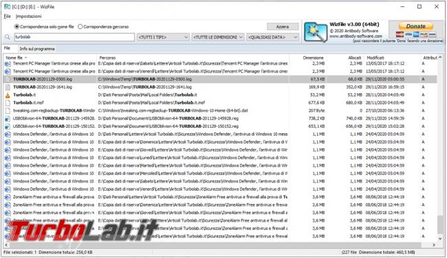 WizFile ricercatore file presenti disco fisso
