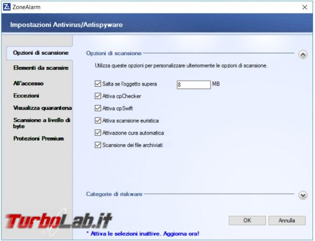 ZoneAlarm Free antivirus firewall prova TurboLab.it